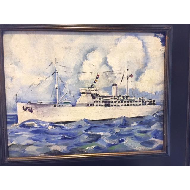 Vintage Mid-Century Cruise Ship Painting - Image 3 of 7