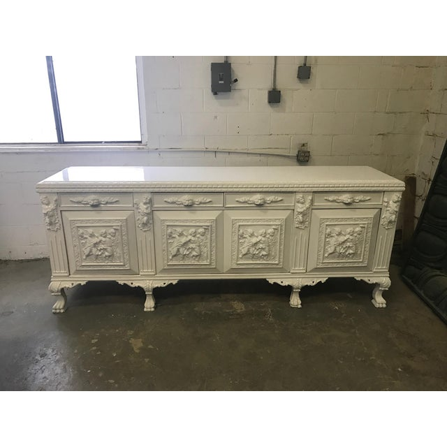 White Lacquered Modern Refurbished Side Board or Console - Image 2 of 7