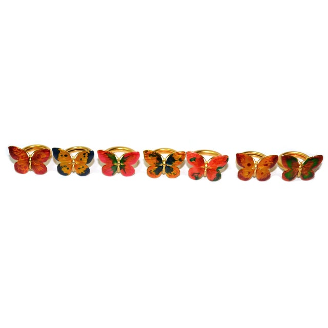 Vintage Cloisonné Butterfly Napkin Holders - S/7 - Image 2 of 8