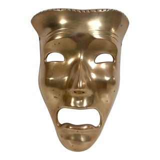 Vintage Brass Tragedy Theater Mask Wall Hanging For Sale