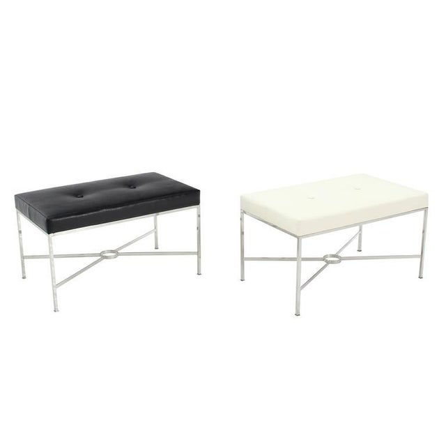 Black Black Leather Upholstered Rectangular X-Base Bench For Sale - Image 8 of 8