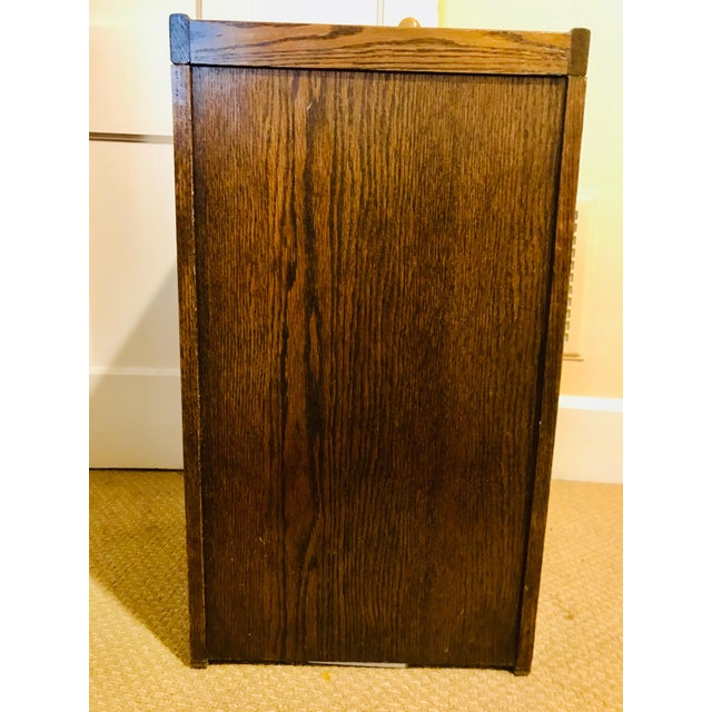 Oak Raised Side & Brass Detail 2-Drawer File Cabinet For Sale - Image 4 of 9