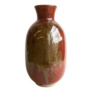 Boho Chic Ceramic Two-Tone Vase For Sale