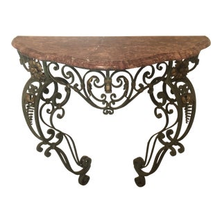 1970s Traditional Marble and Iron Entry Foyer Table For Sale