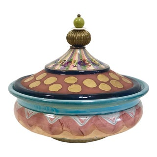 Mackenzie Childs Hand-Painted Ceramic Decorative Bowl With Lid For Sale