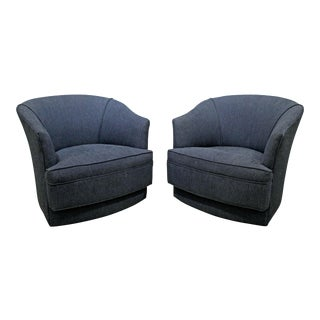Pair of Mid-Century Danish Modern John Stuart Swivel Club Chairs