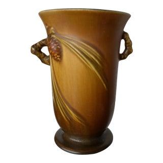 Roseville Pottery Vintage Brown Pinecone Handled Vase For Sale