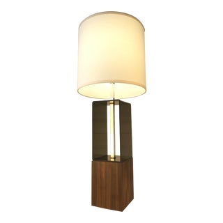 Mid Century Modern Smoked Lucite & Chrome Table Lamp For Sale