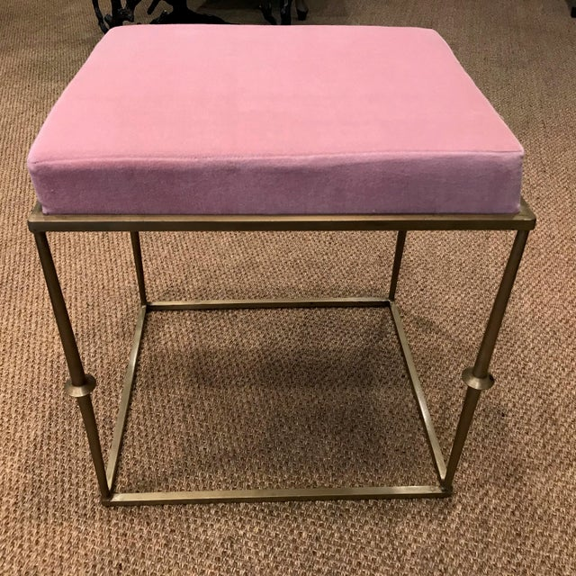 Contemporary Modern Pretty in Pink Stool With Brass Metal Base For Sale - Image 3 of 6