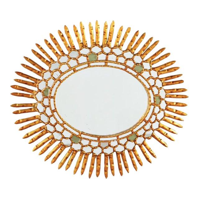 Giltwood Sunburst Mirror With Carved Frame For Sale