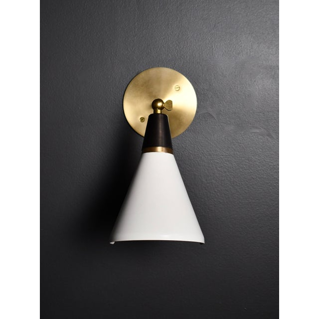 Blueprint Lighting Magari Adjustable Wall Lamp in Black, White & Brass by Blueprint Lighting For Sale - Image 4 of 8