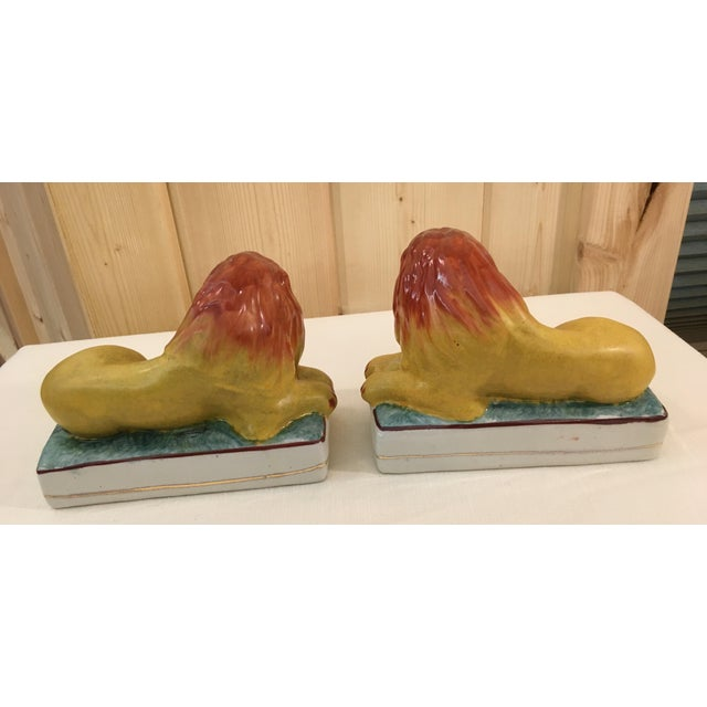 Ceramic Lion Bookends - A Pair For Sale - Image 5 of 11