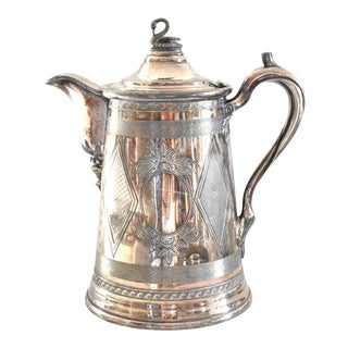 Antique C.1860-1870 Reed & Barton Stimpson Silver Plate Water Pitcher For Sale
