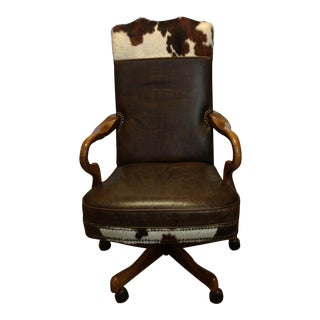 Old Hickory Leather & Cowhide Western Executive Chair For Sale