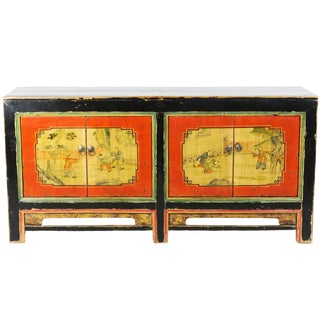 Late 19th Century Antique Mongolian Chinese 4 Door Orange / Black Sideboard Cabinet For Sale