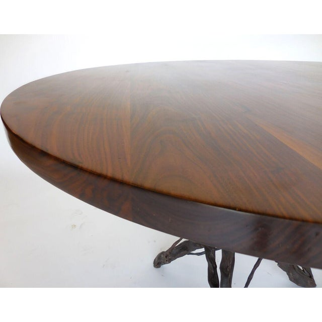 Custom Walnut Wood Side Table With Custom Hand Forged Vine Base For Sale In Los Angeles - Image 6 of 8