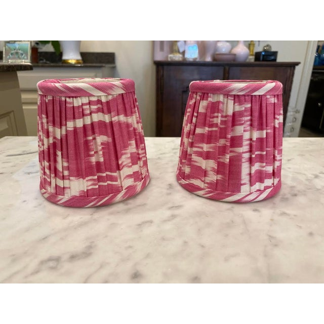 Custom Lamp Sconce Shades in Pink Ikat Fabric - Pair For Sale - Image 9 of 9
