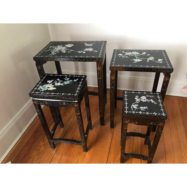 Mid Century Asian Black Lacquer Nesting Tables - Set of 4 For Sale - Image 13 of 13