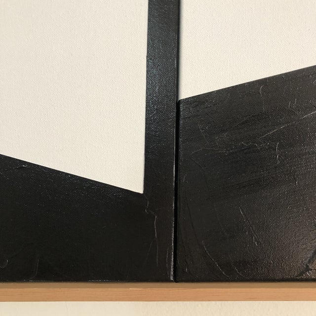 """Abstract Original Acrylic Painting """"White Disjointed Triptych Jet0586"""" For Sale - Image 3 of 5"""