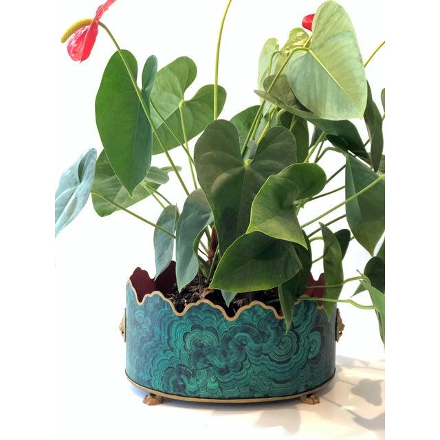 Regency Style Faux Malachite Tole Planter Box - Vintage For Sale - Image 9 of 13