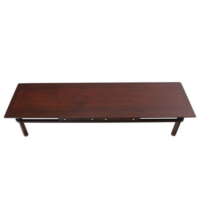 Johnson Furniture Co. Long Mid-Century Modern Walnut Coffee Table with Two Drawers For Sale - Image 4 of 9