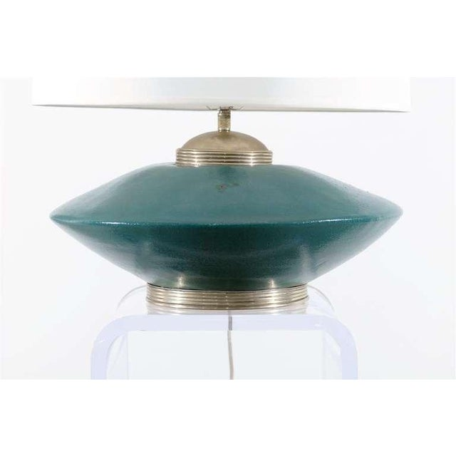 Stunning Pair of Turquoise Ceramic and Silver Lamps by Orno For Sale In Atlanta - Image 6 of 10