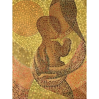 Mosaic Madonna Mother & Child Painting by Olav Mathiesen. Oil on Canvas; 1963 For Sale