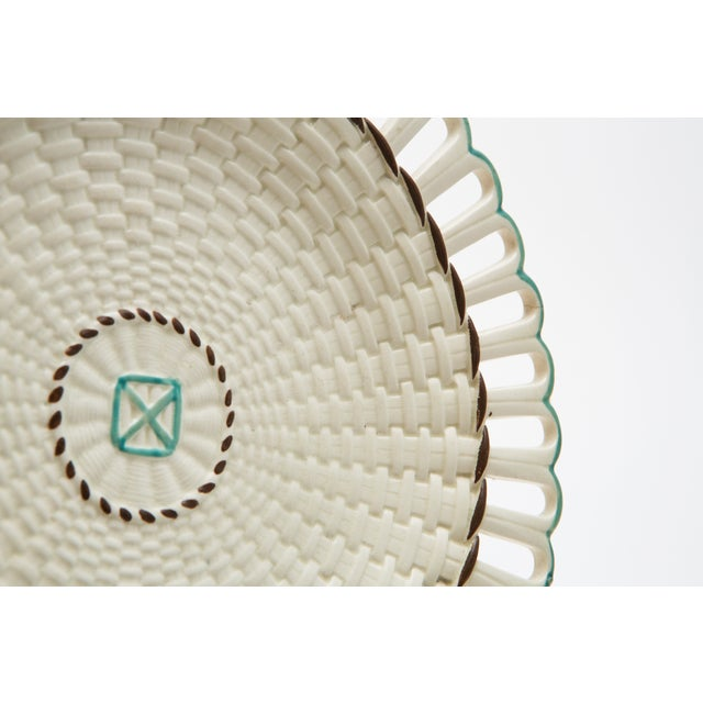 French Creamware Round Basket With Underplate - Image 4 of 4