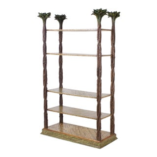 Mid-Century Modern Carved Wood Etagere with Palm Leaf Finials For Sale