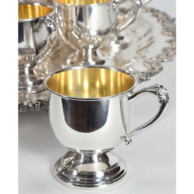 Vintage English Georgian Style Silver Plated & Copper Punch Bowl Set of 15 For Sale - Image 4 of 12