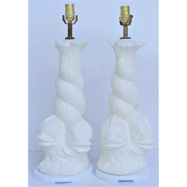 Hollywood Regency Brighton Dolphin Plaster Lamps For Sale - Image 10 of 10