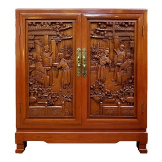 Profusely Carved Asian Fitted Cabinet by George Zee