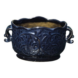 Blue Hand Glazed Pottery Cachepot Planter For Sale