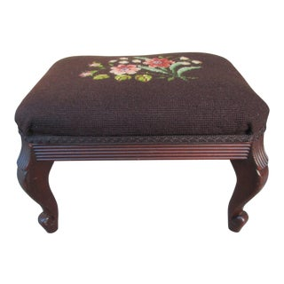 Vintage Mahogany Needlepoint Footstool For Sale