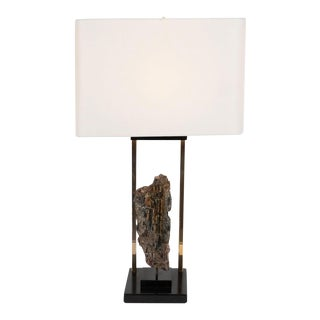 Mid-Century Organic Modern Mica, Brass, Black Enamel and Resin Table Lamp For Sale