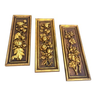 Mid Century Modern Carved Flowers Gold Leaf Wood Wall Sculptures - 3 Pieces For Sale