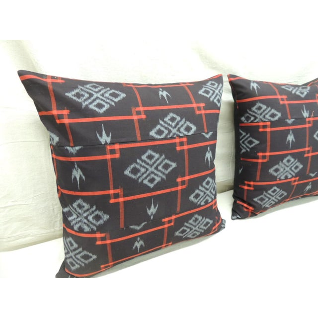 Asian Vintage Asian Red & Black Ikat Woven Textile Square Decorative Pillows- a Pair For Sale - Image 3 of 9