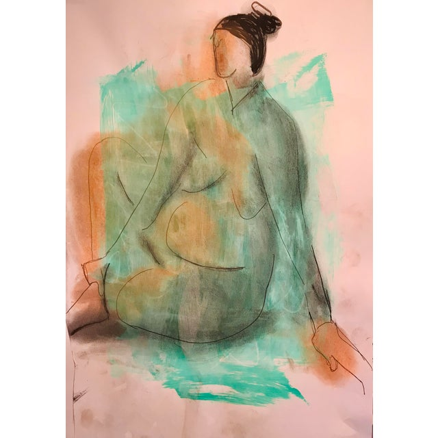 Contemporary Drawing, Green Nude For Sale