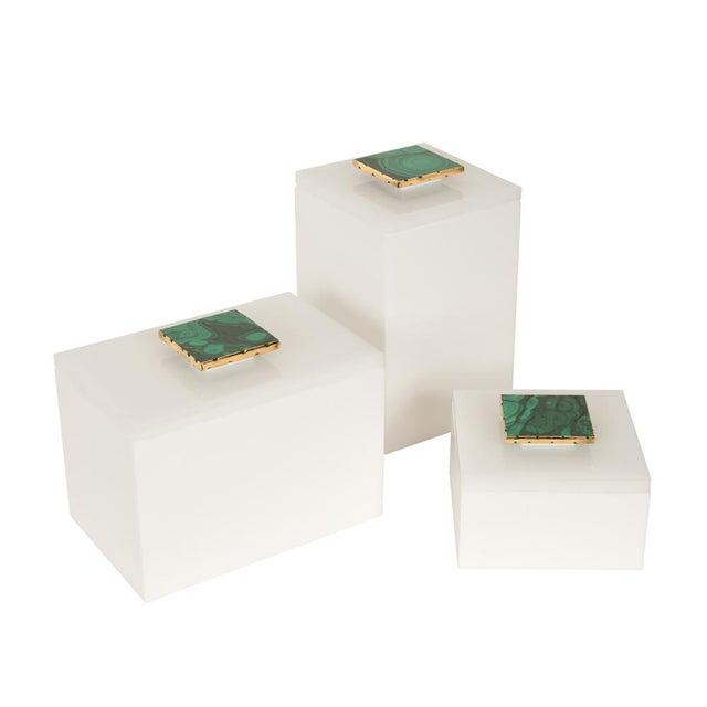 Tall White Box With Malachite Top - Medium - Image 3 of 3