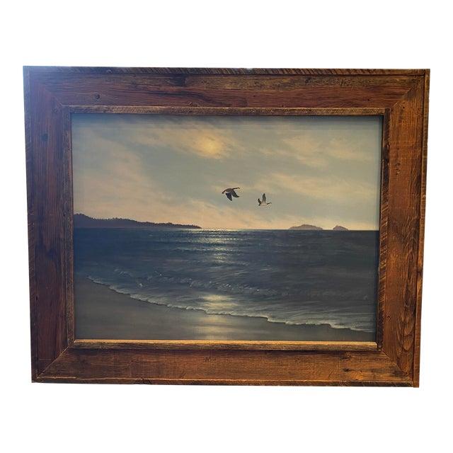 """Geese in Flight"" Vintage Oil Painting For Sale"