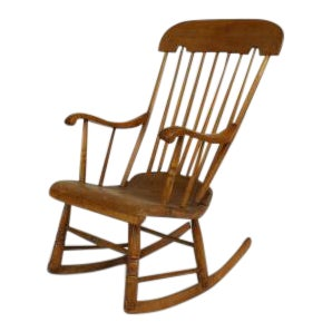 Late 20th Century American Country Style Stripped Pine Spindle Back Rocking Chair For Sale