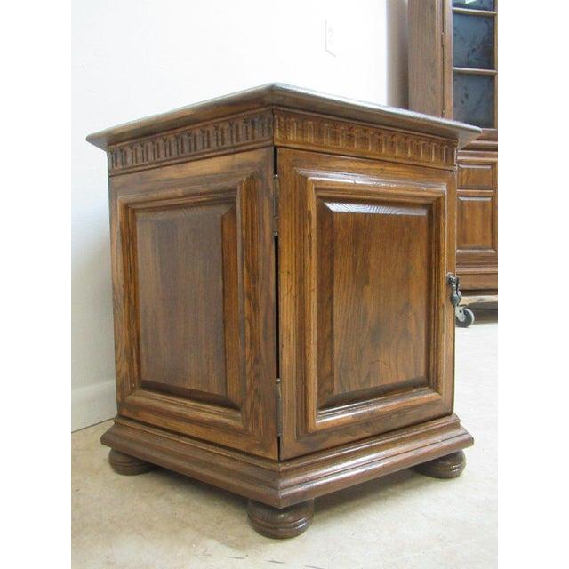 Copper Top Coffee Table Ethan Allen: Ethan Allen Royal Charter Oak Jacobean Drum Lamp End Table