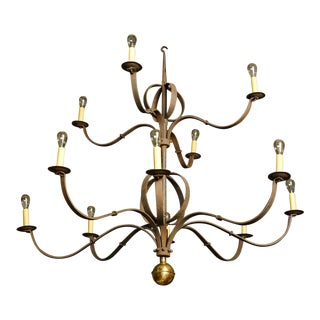 Monumental Two-Tier Forged Iron Chandelier For Sale