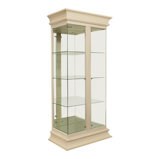 Contemporary Modern White Washed and Glass Curio Display Cabinet For Sale