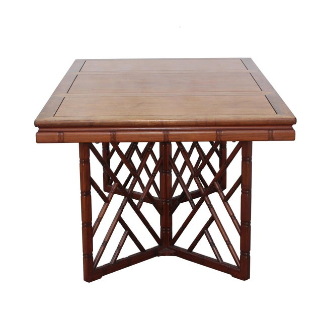 Wood Chinese Oriental Brown Rectangular Writing Desk Dining Table For Sale - Image 7 of 10