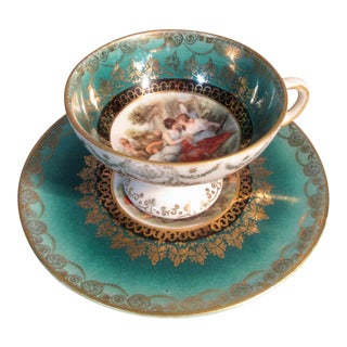 Royal Vienna Demitasse Cup & Saucer Beehive Mark Classic Female Figures Jeweled Gold Signed For Sale