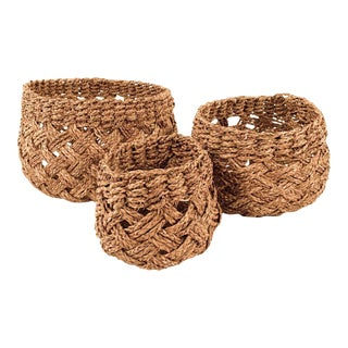 Axel Woven Basket in Navy Blue- Set of 3 For Sale