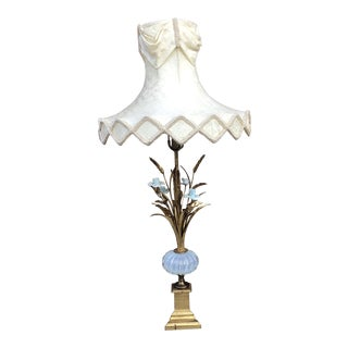 Hollywood Regency Murano Glass Table and Table Lamp With Shade For Sale