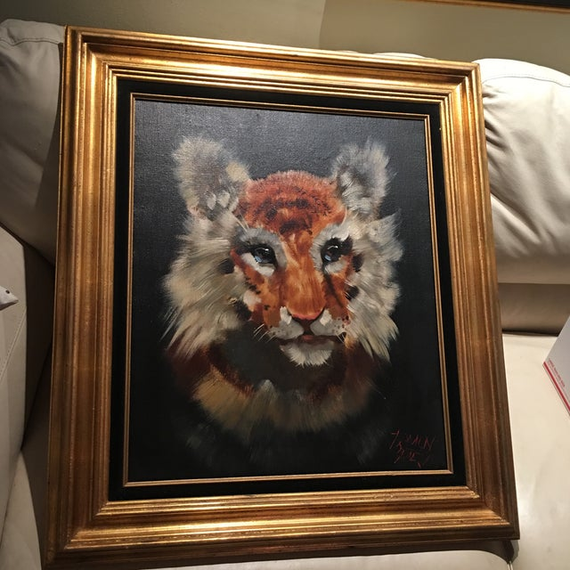 Gold Framed Tiger Cub Oil Painting - Image 3 of 8