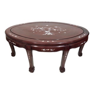 Vintage Asian Rosewood and Mother of Pearl Oval Coffee Table With Flowers and Birds For Sale